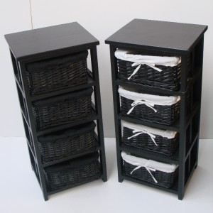4 BLACK BASKET DRAW BATHROOM STORAGE UNIT FLOOR CABINET EBay