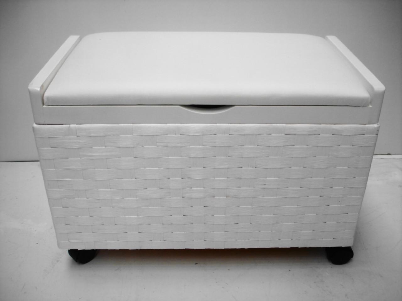 white shabby chic toy box laundry basket storage trunk. Black Bedroom Furniture Sets. Home Design Ideas