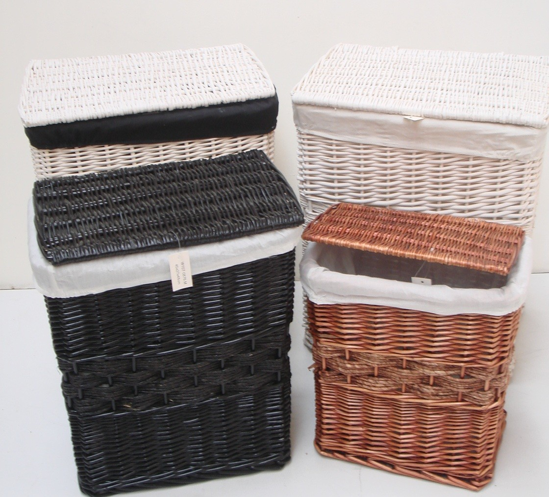 Brown White Black Wicker Laundry Basket Hamper Bin Bedroom Bathroom Storage 4clr Ebay