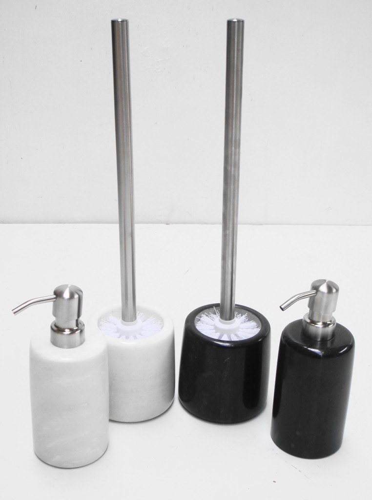 MARBLE STONE CHROME LIQUID SOAP DISPENSER TOILET BRUSH & HOLDER BATHROOM SHOWER