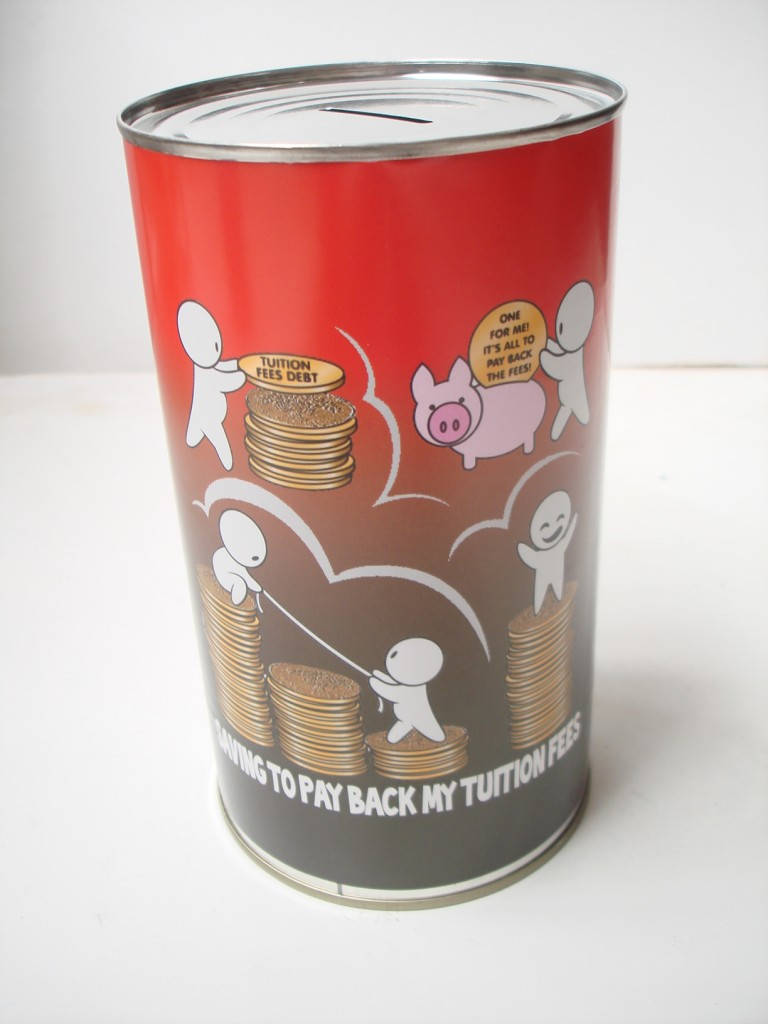 Large money box jar tin saving cash can piggy bank great for Cool money jars