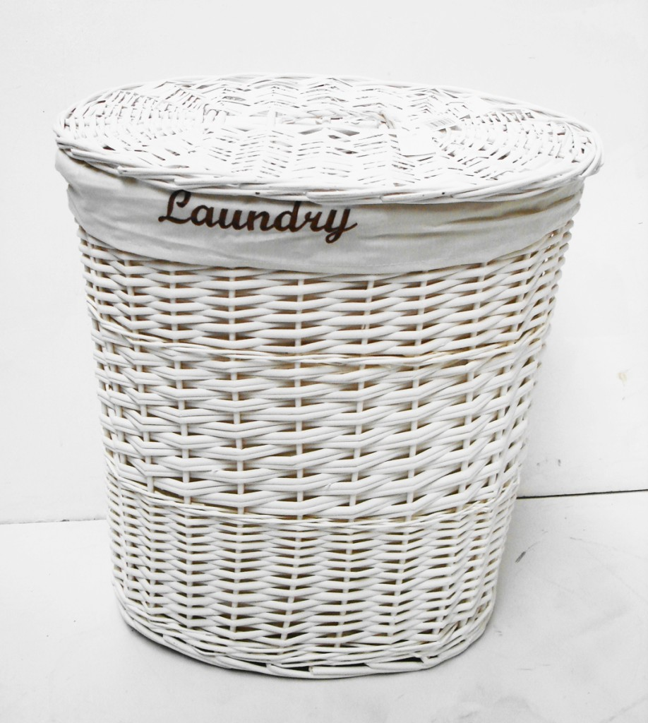 Brown or white oval wicker laundry basket with lid and White wicker washing basket