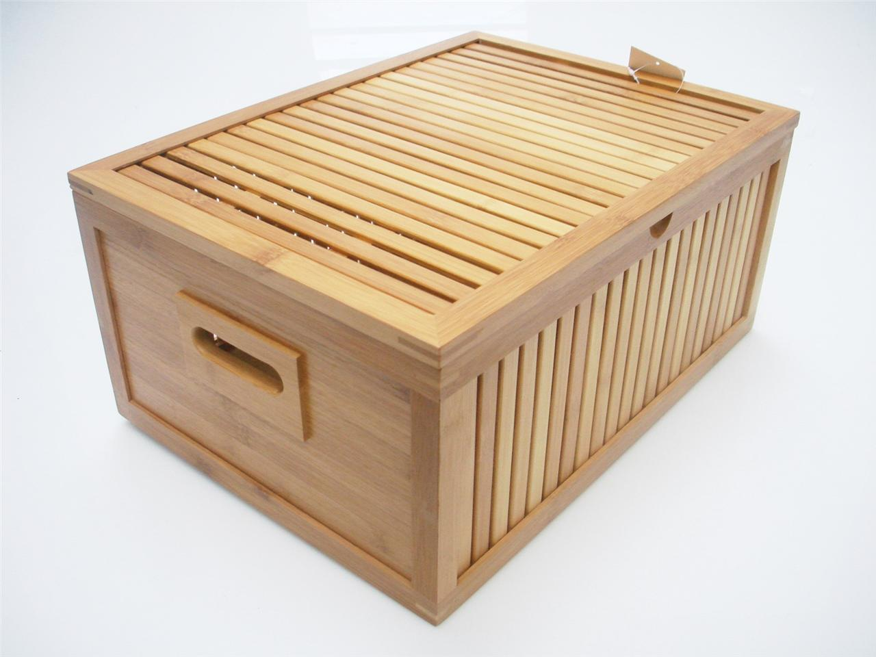 Strong wooden bamboo office home kids bedroom toy box for Storage chests for bedroom