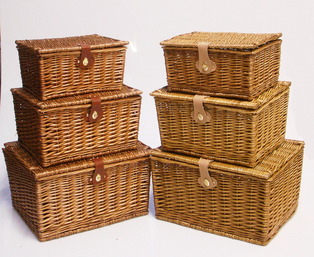 Empty Wicker Gift Baskets : Strong brown oak wicker picnic gift storage xmas christmas