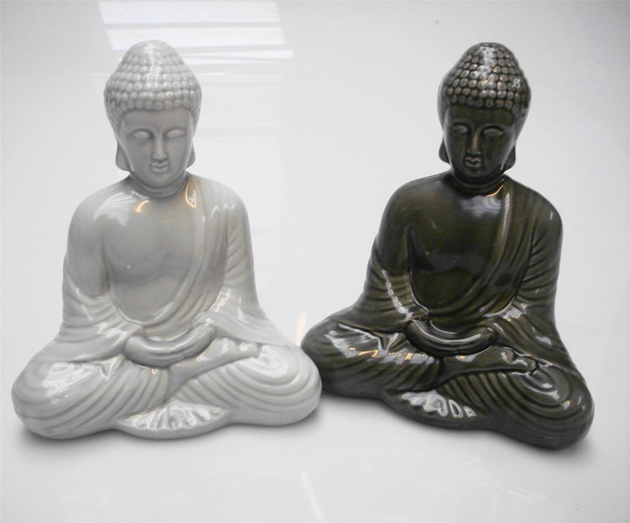 28cm ceramic white grey finish meditating buddha statue for Buddha decorations for the home uk