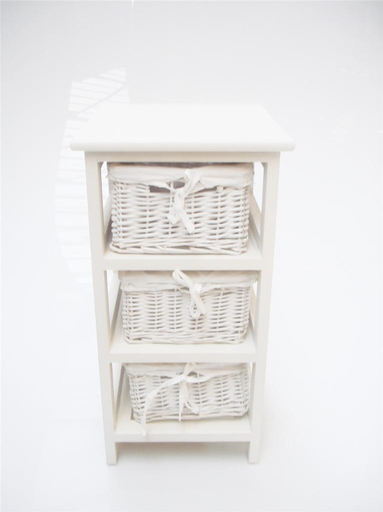 White Narrow Bedside Cabinet 3 Chest Of Draws Drawer Bathroom Storage Unit Ebay