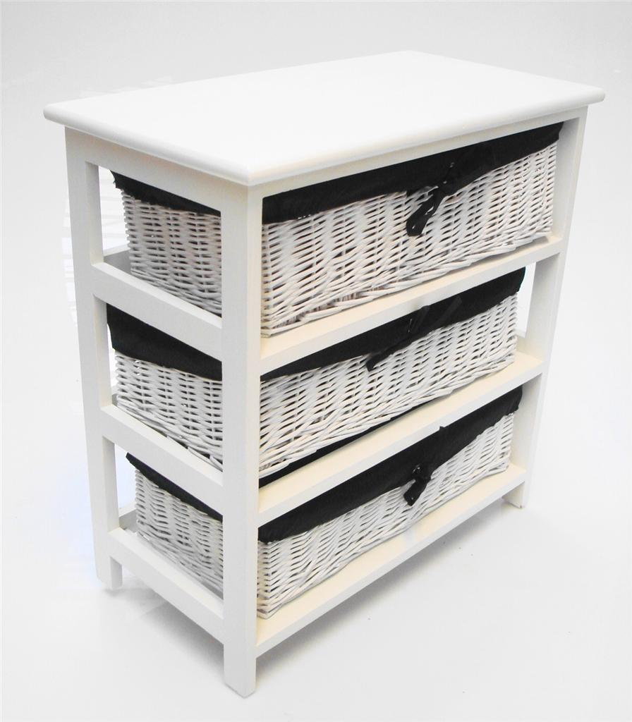 White Wider Basket Chest Of Drawer Bedside Kids Bedroom Bathroom Storage Cabinet Ebay