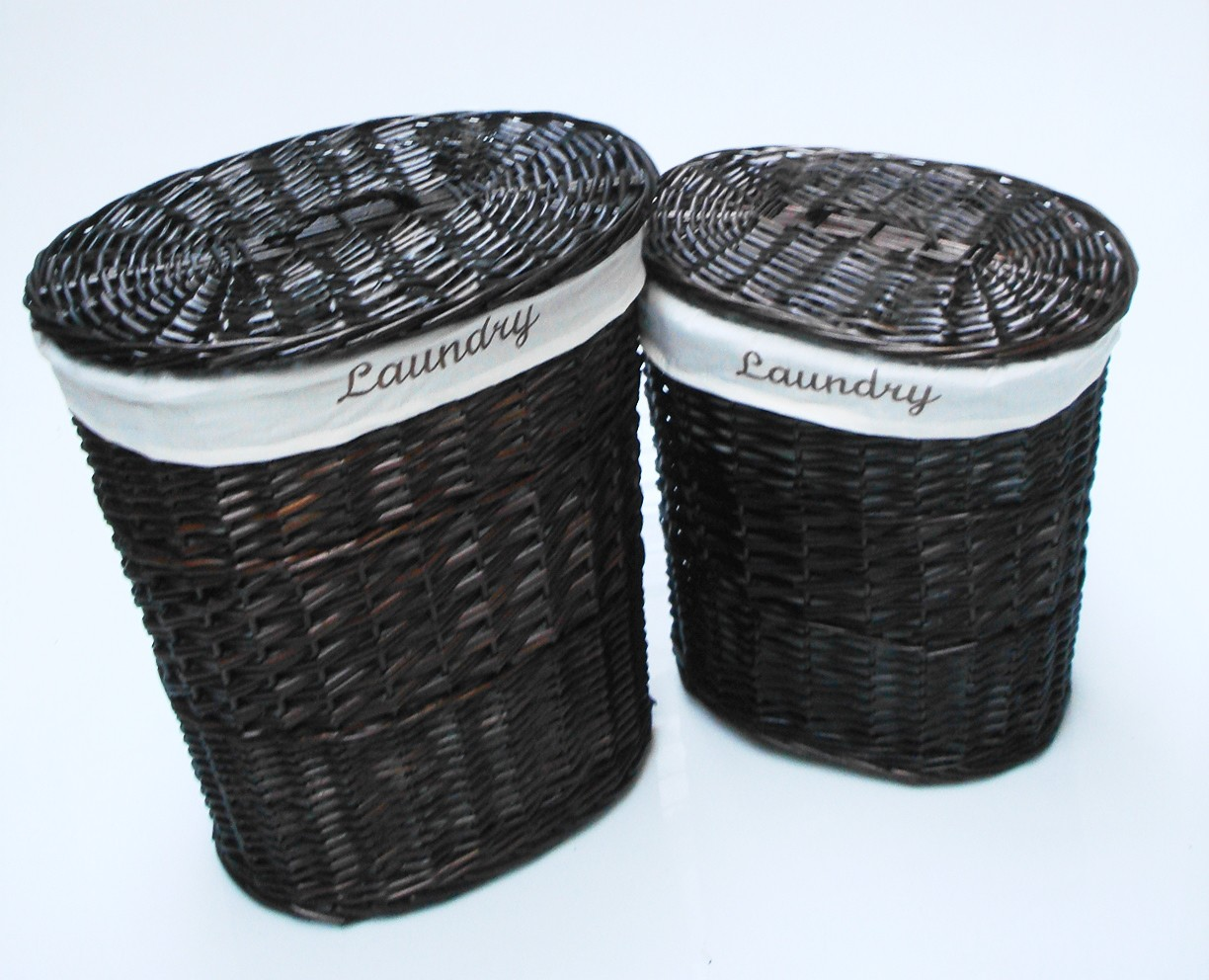 Brown white black oval wicker laundry basket with lid White wicker washing basket