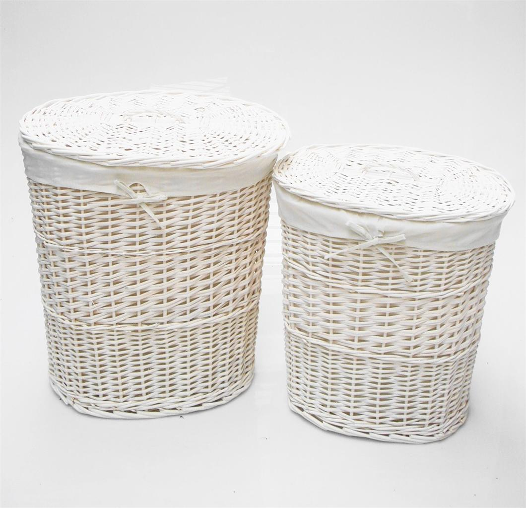 Brown white black oval wicker laundry basket with lid removable cotton lining ebay - Rattan laundry basket with lid ...