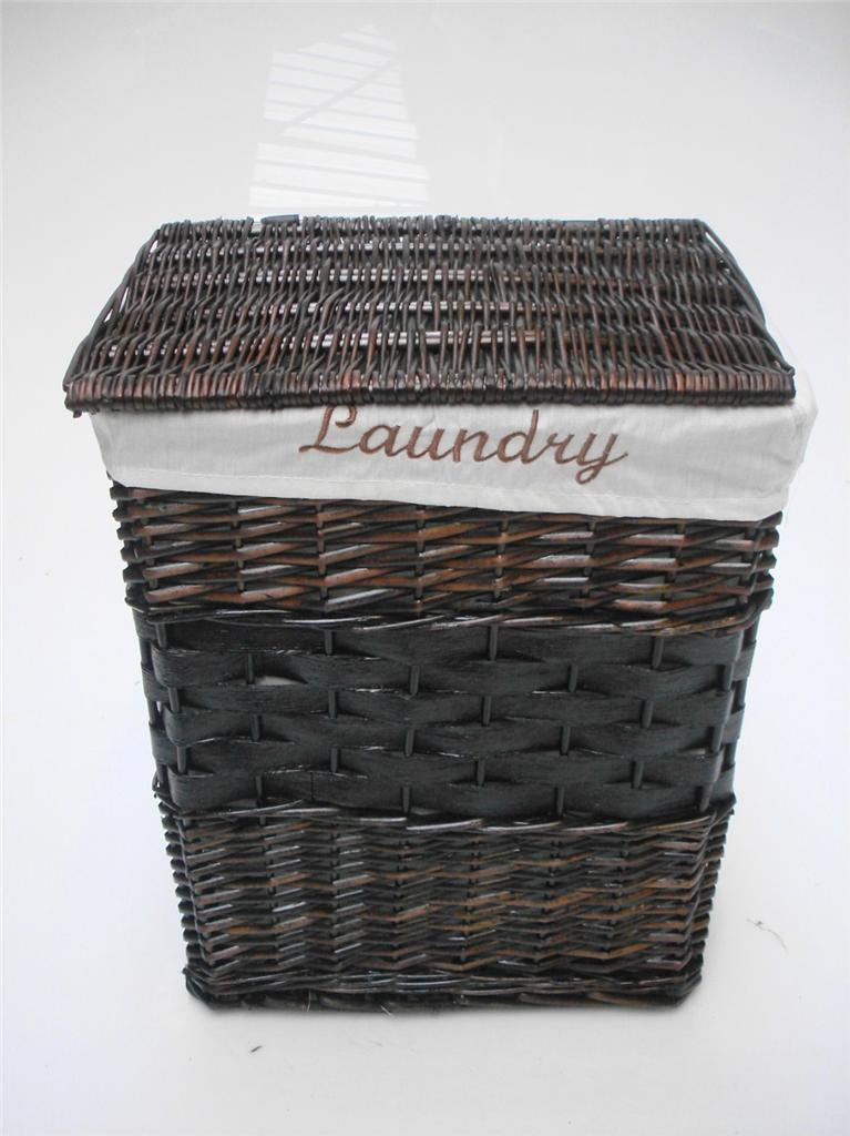 White Black Brown Wicker Round Oval Rectangle Laundry Basket Bathroom Storage Ebay