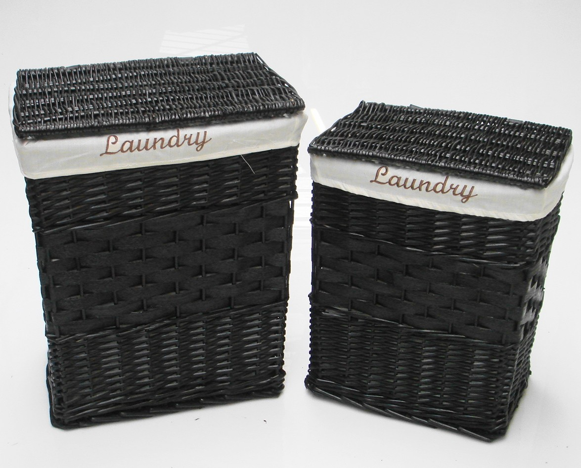 White Black Brown Wicker Rectangle Laundry Basket Bin Bathroom Bedroom Storage Ebay