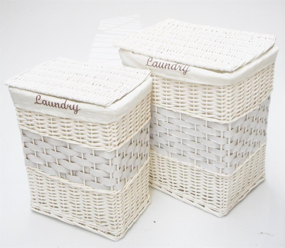 White black brown wicker rectangle laundry basket bin White wicker washing basket