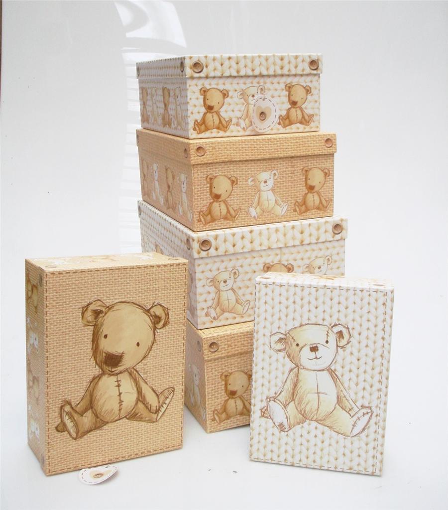 TEDDY BEAR DESIGN HARD CARDBOARD A4 PAPER STORAGE BOXES