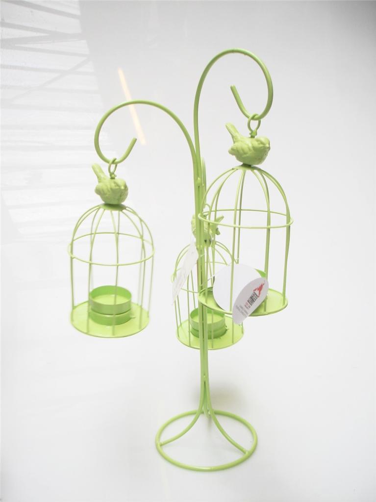 Bright triple hanging birdcage metal lantern candle tea for Diy hanging tea light candle holders
