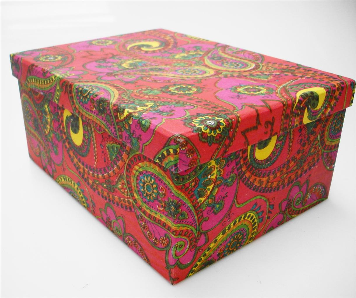 Recycled colourful cardboard crafts storage box kids