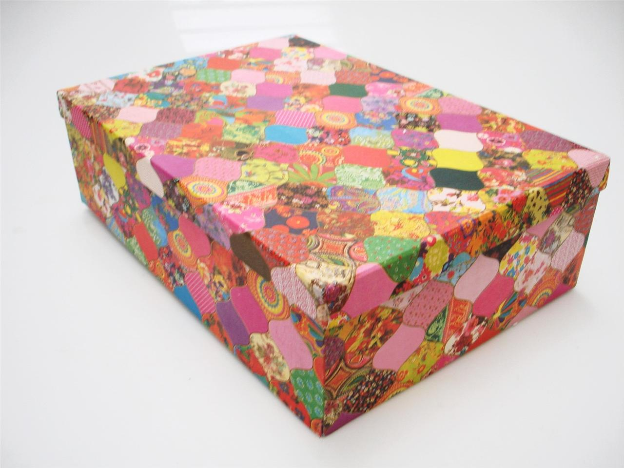Recycled colourful cardboard crafts storage box kids for Crafts that sell on ebay