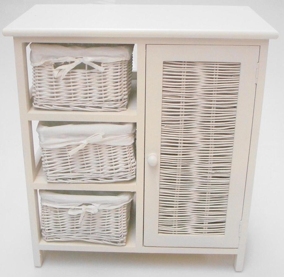 Shabby Chic White Wicker 3 Chest Of Drawer Basket Cupboard Storage Unit Cabin