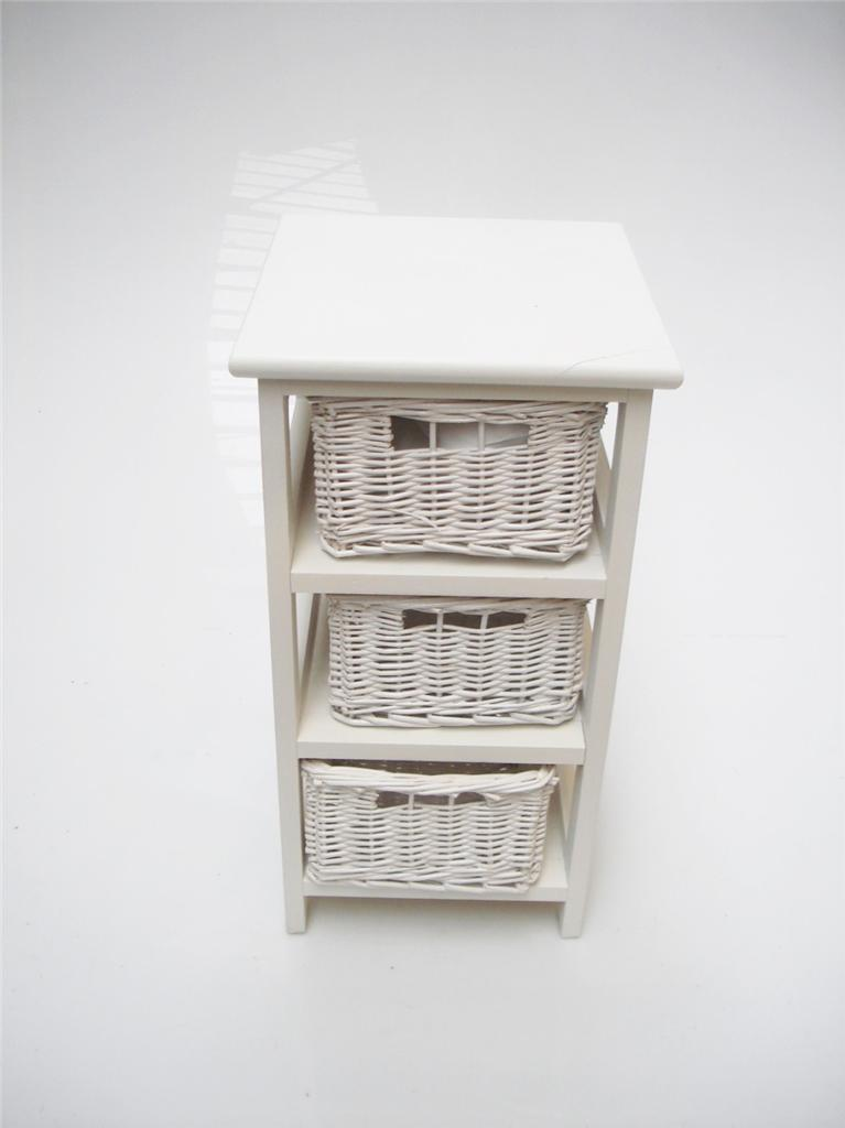 White Shabby Chic Narrow Bedside Table 3 Chest Of Draws