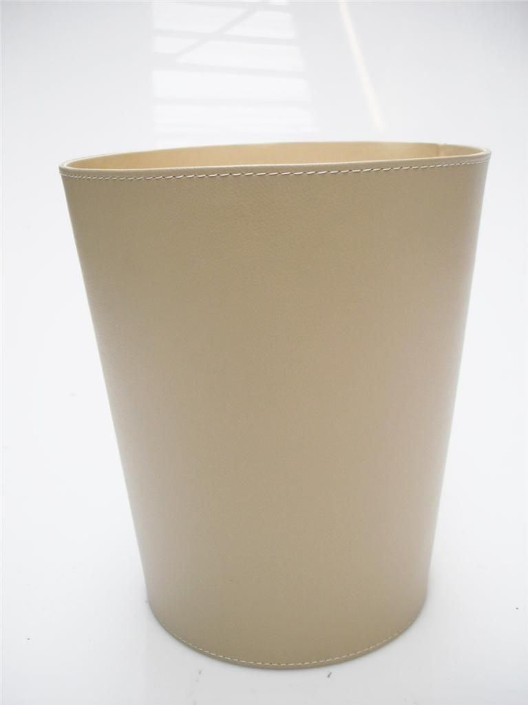 Home Office Strong Faux Leather Waste Paper Bin Basket