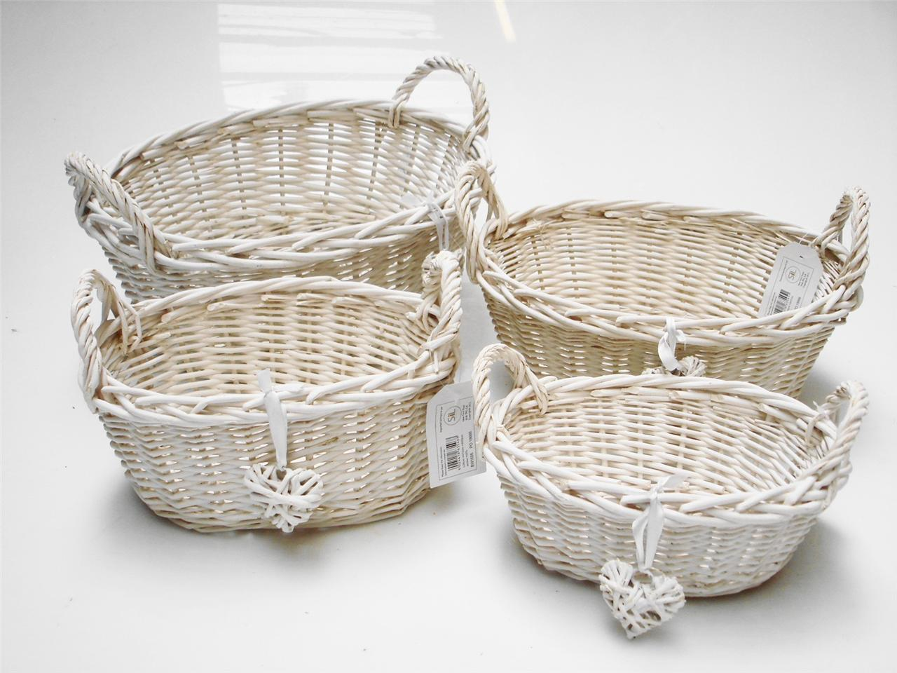 Oval White French Shabby Chic Wicker Kitchen Crafts Bathroom Storage Basket Ebay