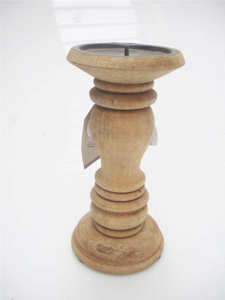 61 46 36 O R20cm Carved Mango Wood Pillar Church Candle