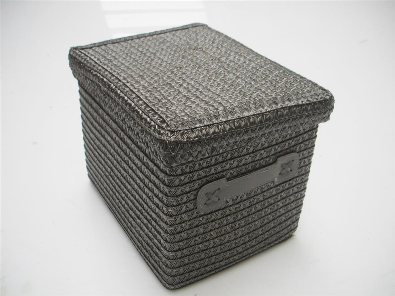 Woven Storage Baskets With Handles : Grey handle woven storage basket w lid home baby nursery