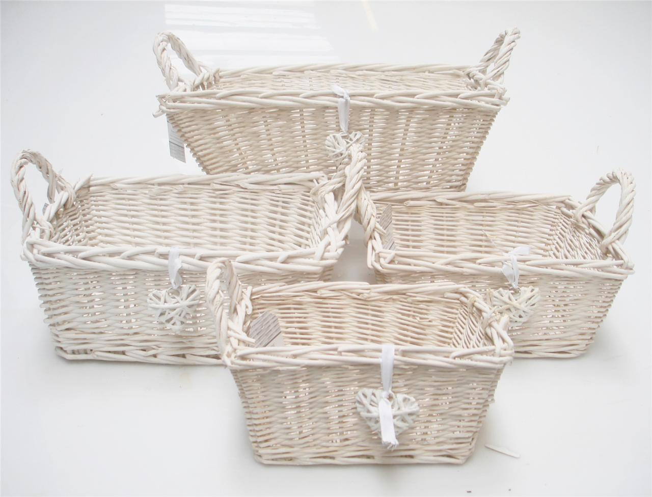 rectangle white french shabby chic wicker kitchen crafts bathroom storage basket ebay. Black Bedroom Furniture Sets. Home Design Ideas