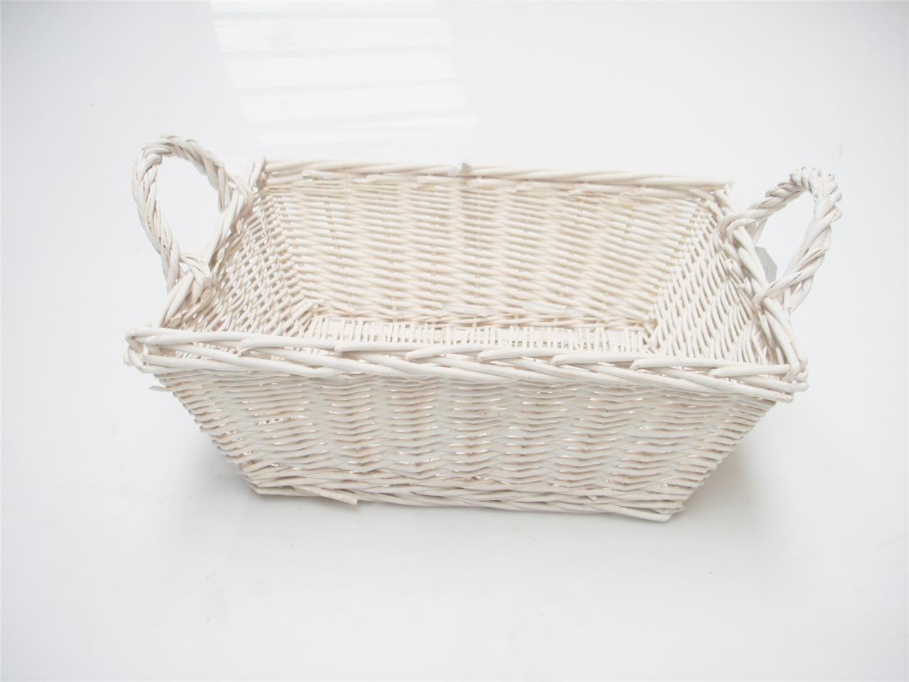 Rectangle White French Shabby Chic Wicker Kitchen Crafts Bathroom Storage Basket Ebay