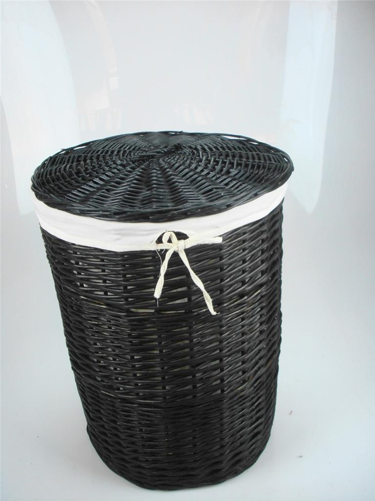 white black brown wicker round oval rectangle laundry basket bathroom storage. Black Bedroom Furniture Sets. Home Design Ideas