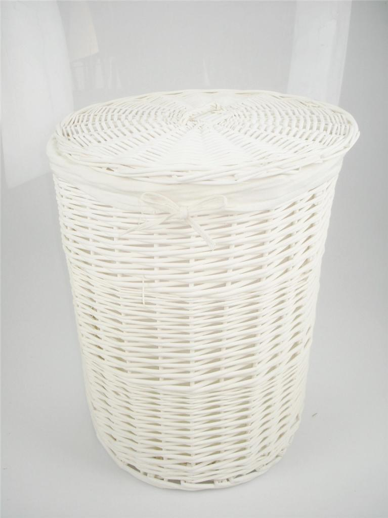 Brown white honey wicker round laundry basket bin toilet White wicker washing basket