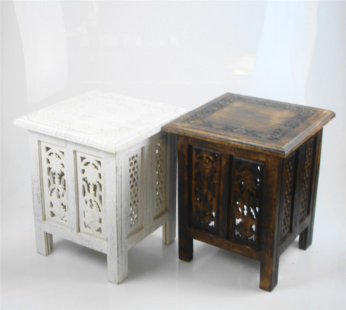 Beautiful brown or white hand carved indian wooden table Beautiful end tables