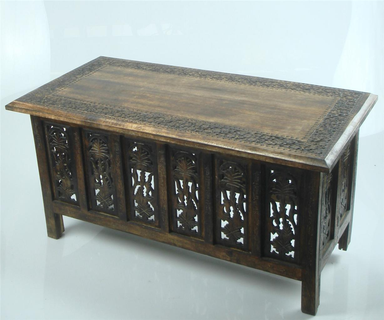 Beautiful brown white hand carved indian wooden coffee for Indian carved coffee table