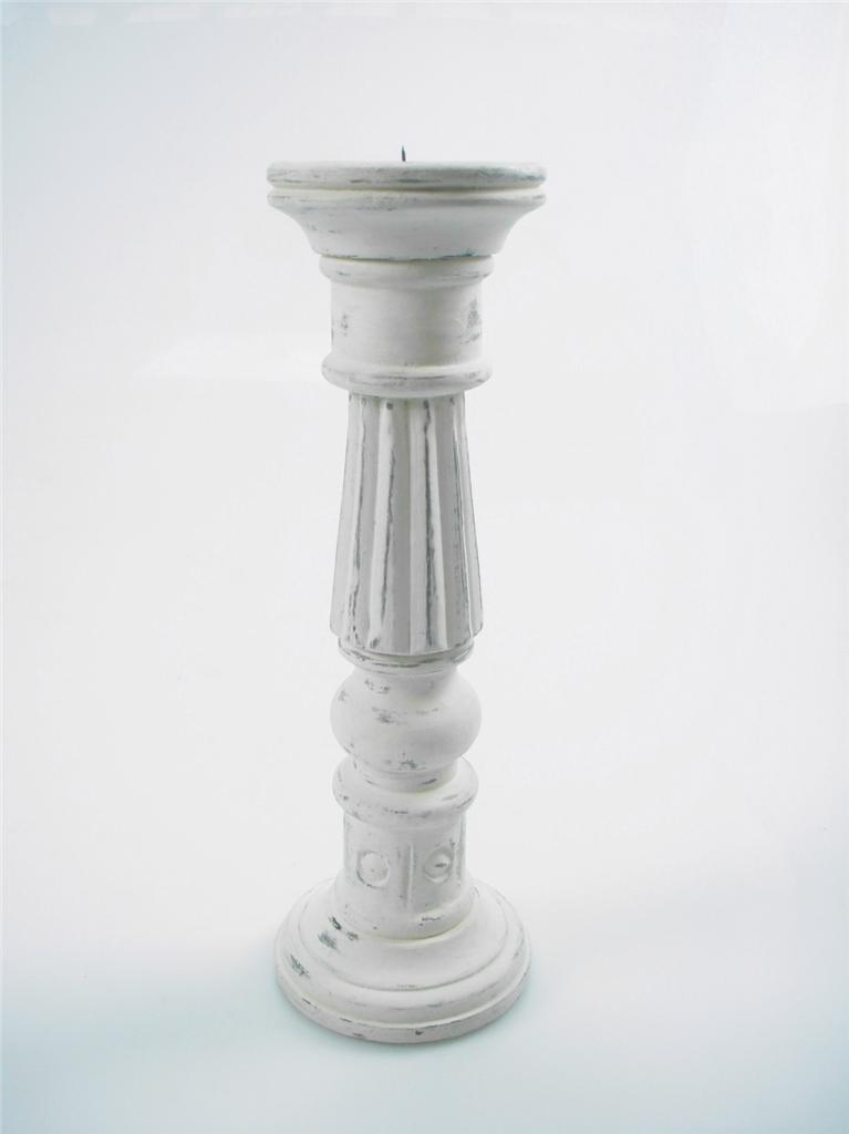 46-36-or-20cm-Rustic-Carved-White-Wood-Pillar-Church-Candle-Holder-Candle-Stick