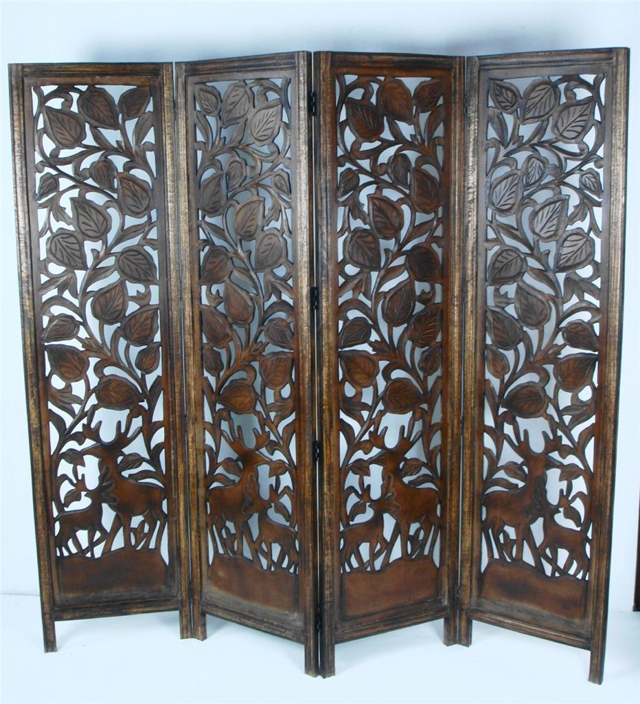 Carved Wooden Screens ~ Panel carved heavy duty indian stag deer wooden screen