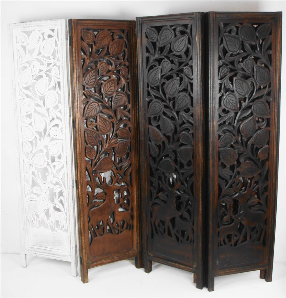 Carved Wooden Screens ~ Panel hand carved indian stag deer screen wooden