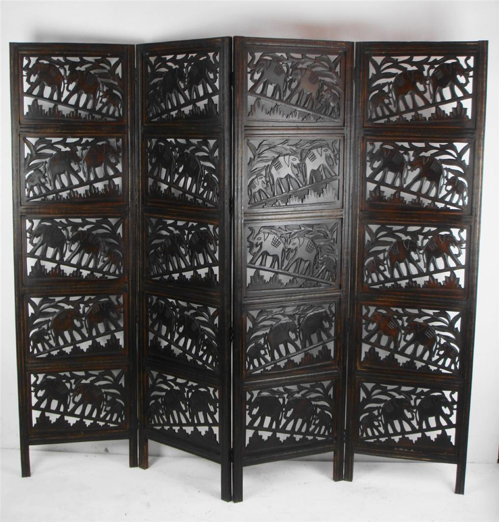 Carved Wood Screens ~ Panel hand carved indian screen wooden elephant
