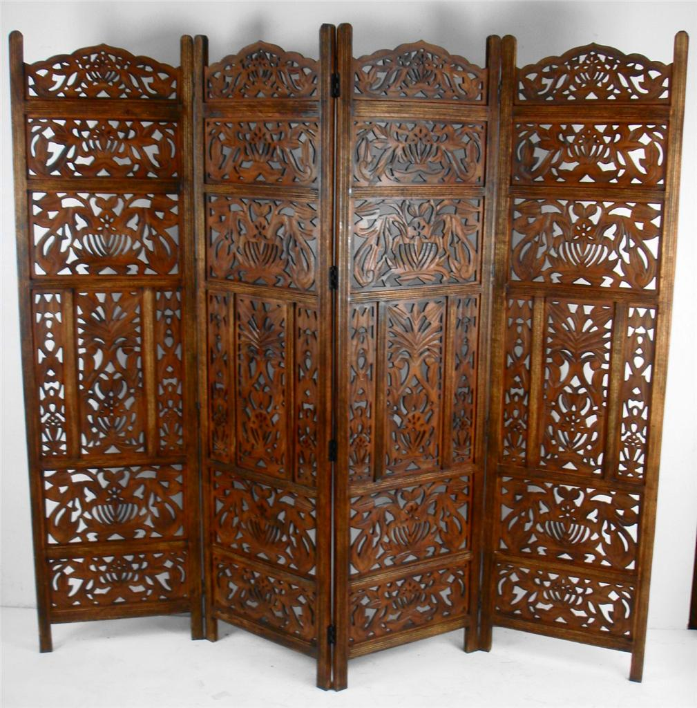 Carved Wood Screens ~ Panel hand carved indian screen wooden leaves design