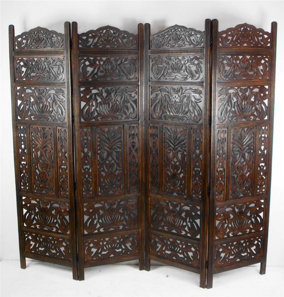 Carved Wooden Screens ~ Panel hand carved indian screen wooden leaves design