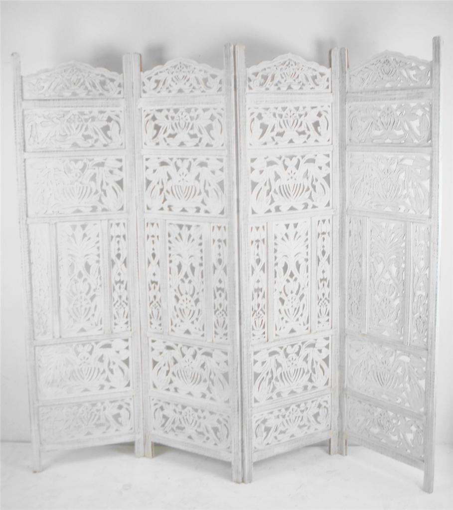 carved indian screen wooden leaves design screen room divider ebay