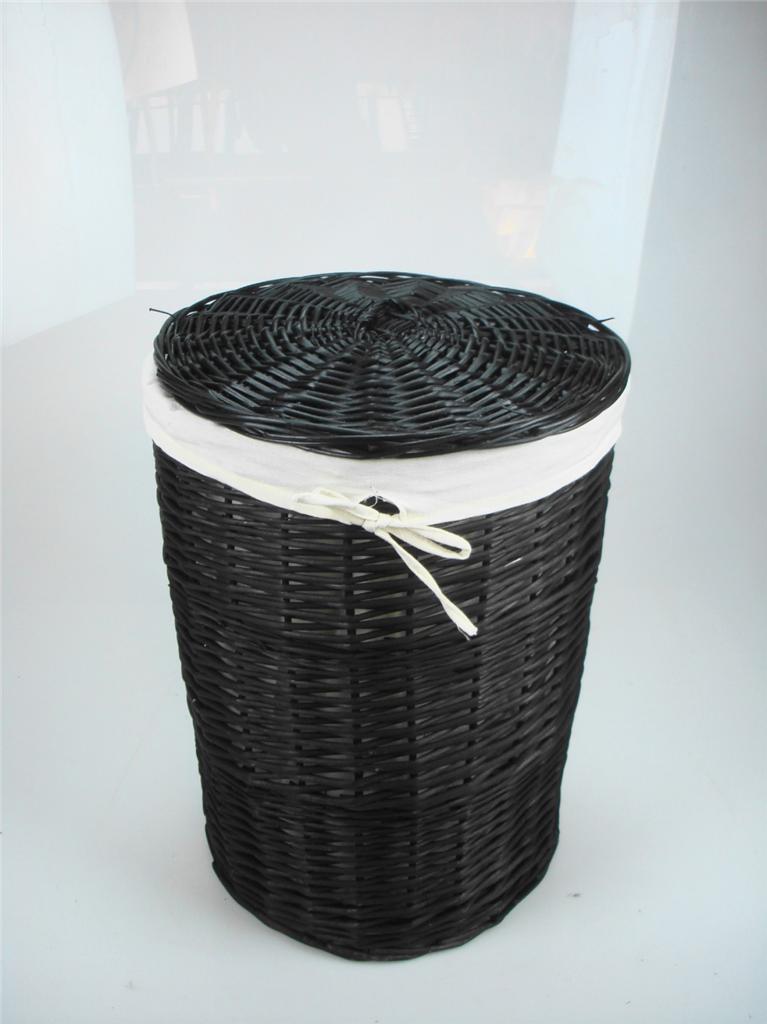Brown White Honey Wicker Round Laundry Basket Bin Toilet