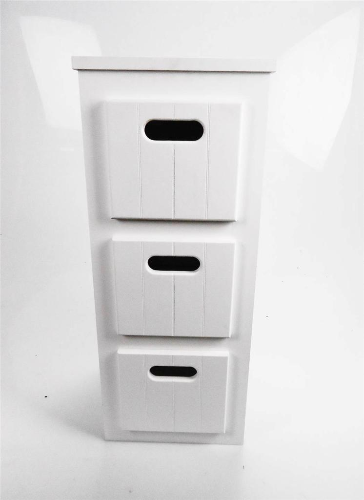 Reduced white wooden narrow 3 chest of drawers bedside for White wooden bathroom drawers