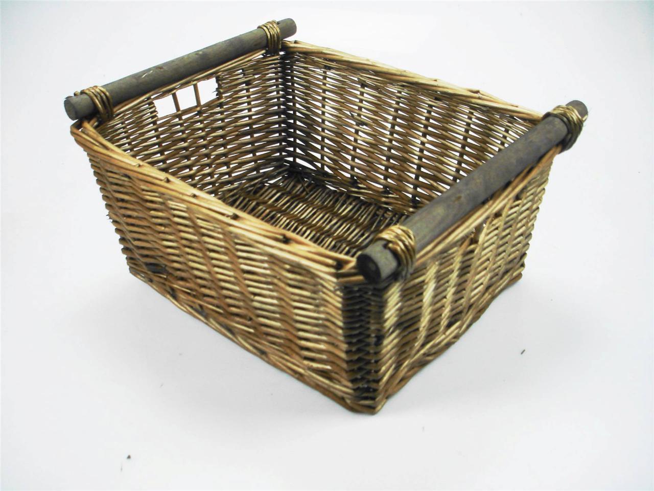 Wicker Hamper Baskets With Handles : Kitchen log wicker storage basket with handles xmas empty