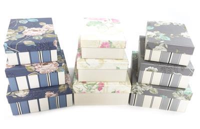 Floral Striped Rectangle Hard Cardboard Craft Storage Xmas Brithday