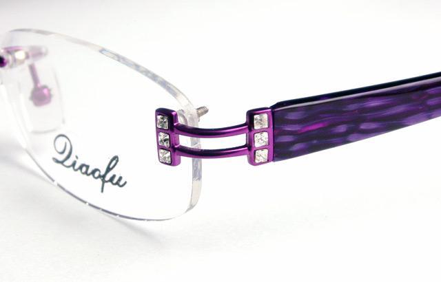 Crystal Eyeglass Frames LADIES Rimless OPTICAL Purple eBay
