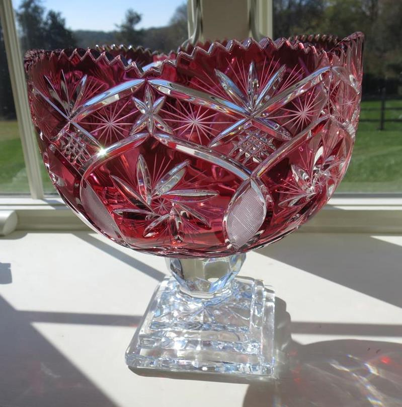 Large cranberry cut to clear lead crystal footed bowl