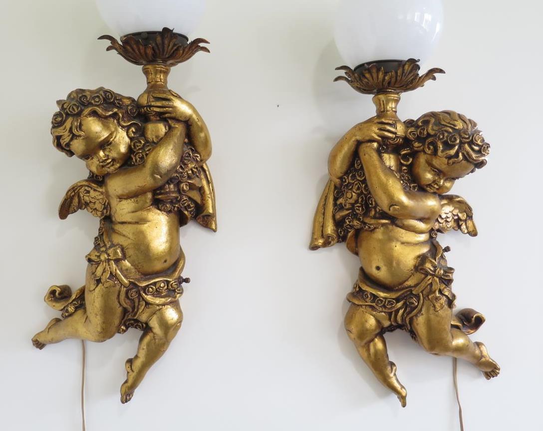 VINTAGE PAIR Hanging CHERUB Wall Light Sconce Gesso Lamp Angel Hollywood Regency eBay