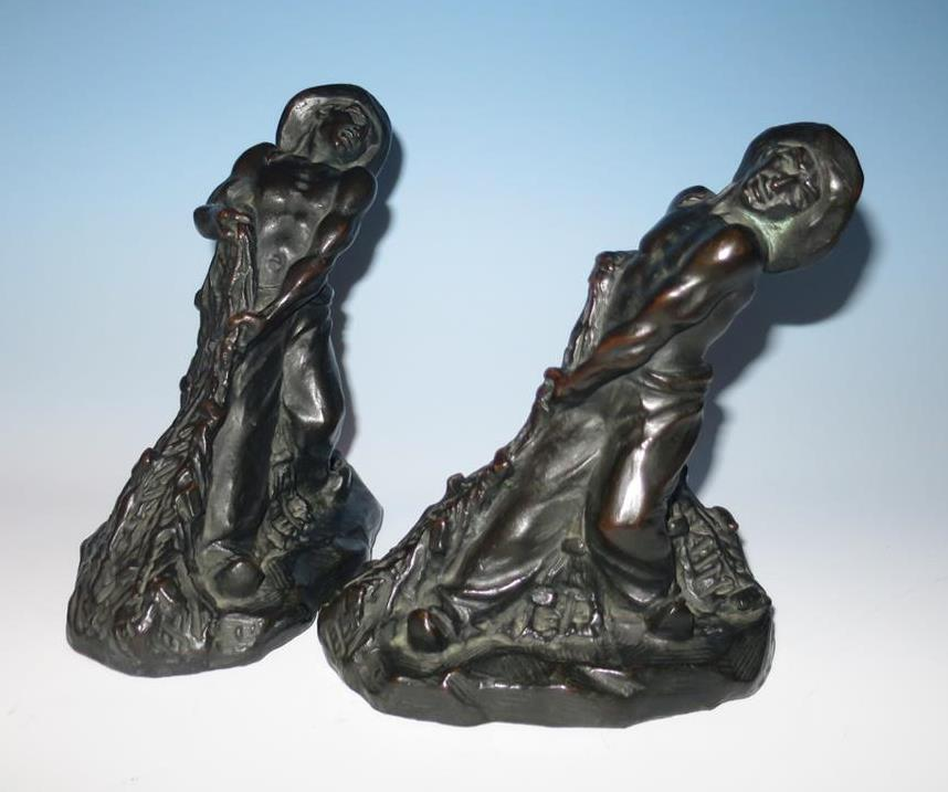 Pair the toiler armor bronze co bookends clad fisherman morani book ends ebay - Armor bronze bookends ...