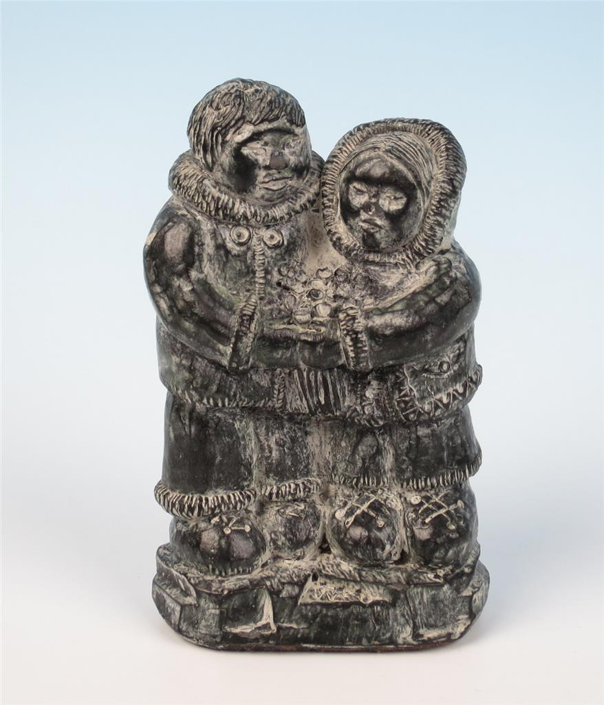 Inuit soapstone carving native folk art love couple figure