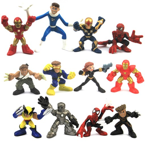 12X-Marvel-Super-Hero-Squad-Spider-Man-Iron-Man-WOLVERINE-BLACK-WIDOW-Figure-D88