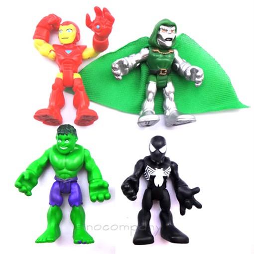 LOT-4X-MARVEL-Super-Hero-Squad-Hulk-Iron-man-The-Avengers-Spider-man-Figure-FX9